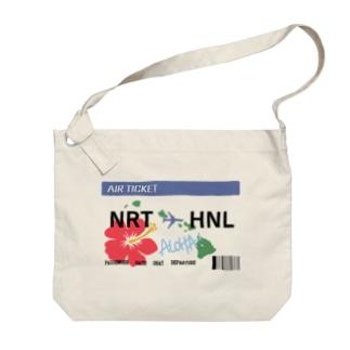 航空券風 成田ホノルル便 Big shoulder bags