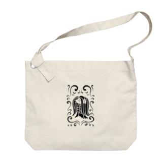 アマビエ様と波・黒 Big shoulder bags