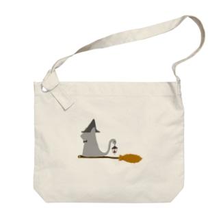 とんがり帽子猫(箒ランプ) Big shoulder bags