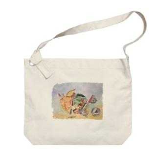 ホラガイ 水彩画 Big shoulder bags