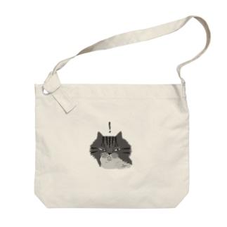 何かを見つけたもふもふグレーしま猫 (淡色用) Big shoulder bags