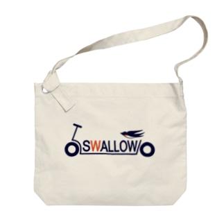 キックボード風スワローロゴ Big shoulder bags