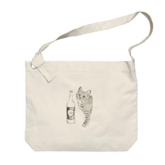 キジトラ猫とどぶろく(ブラウン) Big Shoulder Bag