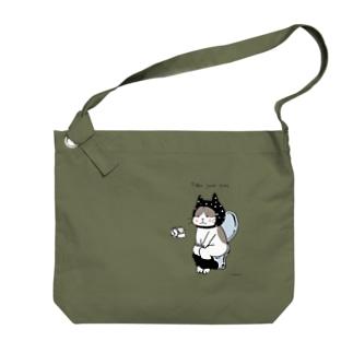 トイレねこ 黒 Big shoulder bags