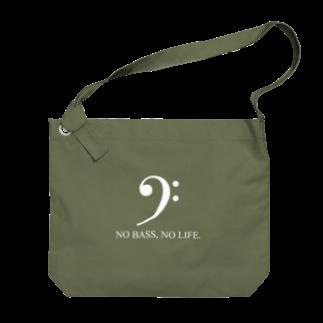 もりてつのNO BASS, NO LIFE. (白文字) Big shoulder bags