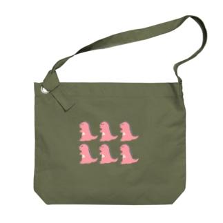 namunamuのドット恐竜 たくさん ピンク Big shoulder bags
