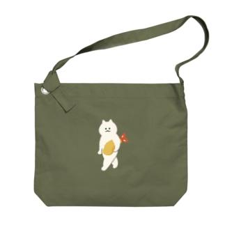 エビフライをさわやかに持ち運ぶ猫 Big shoulder bags