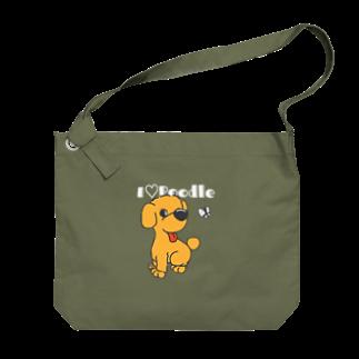 Hi-BoのI Love Poodle(白抜き文字) Big shoulder bags