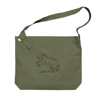 グリーンイグアナ (線画) Big shoulder bags
