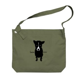 バリ犬(文字入り) Big shoulder bags