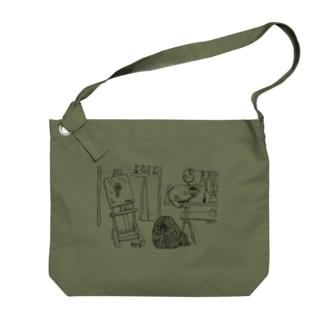 アトリエの猫と、かしこいプーリー犬 Big shoulder bags