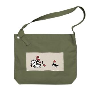 なまらやの鴉ときのことなまら猫 Big shoulder bags