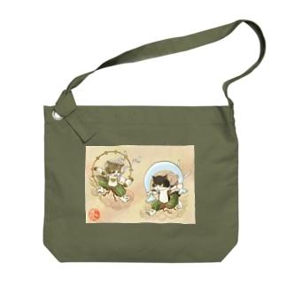 風猫雷猫図屏風 Big shoulder bags