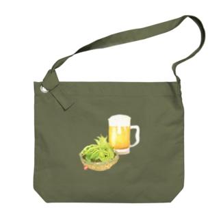 ビールとえだまめ Big shoulder bags