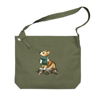 マフラー犬 コーギー Big shoulder bags