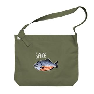 生きていない鮭 Big shoulder bags