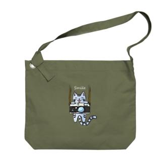 Camera & Cat カメラとネコ(濃色) Big shoulder bags