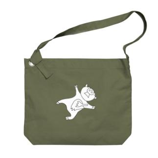 豚人イラストのパンダ武島のポークゆえにフォーク Big shoulder bags