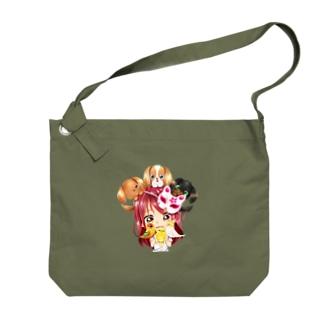 ハッピーアニマル(初期限定デザイン キャバリア・インコ・犬・鳥) Big Shoulder Bag