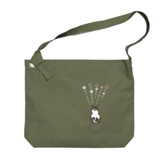 tanka/ねこ(白) Big shoulder bags