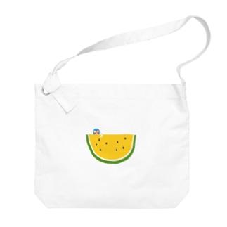 スイカとマスクマンのイラスト(黄)  Big Shoulder Bag