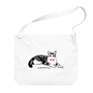 ネクタイ猫ちゃん Big shoulder bags