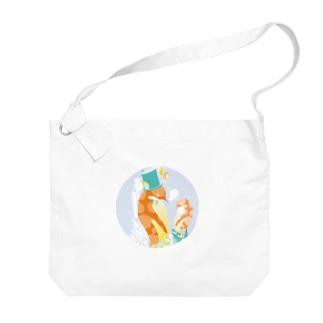 ペンギンTeaTime(グレー) Big shoulder bags