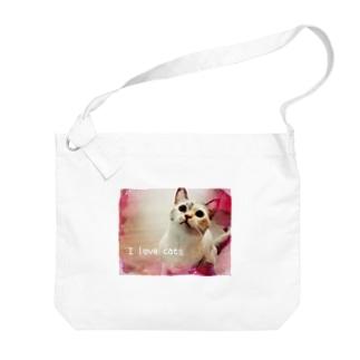 I love cats ① Big shoulder bags