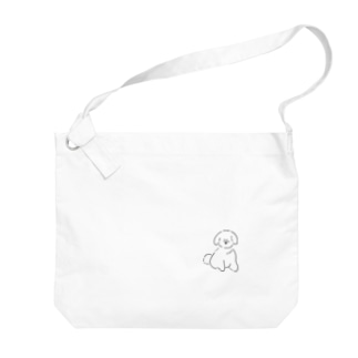 ふわふわの白いいぬ Big shoulder bags