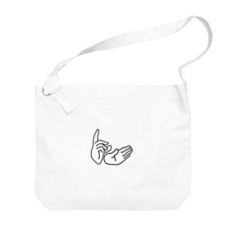 平和のハンドサイン Big shoulder bags