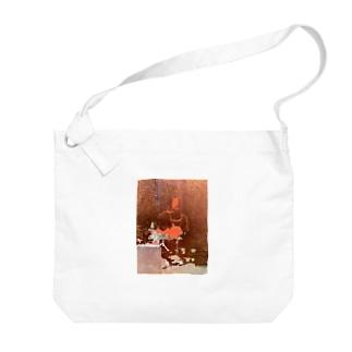 色箔と銀箔 Big shoulder bags