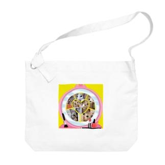 覗き見ニャンコ(みんな友達) Big shoulder bags