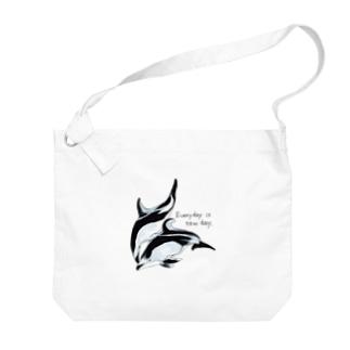 ハラジロカマイルカとカマイルカ「Everyday is new day」2 Big shoulder bags