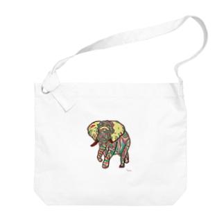 ゾウさん Big shoulder bags