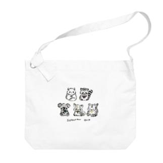黒文字:小さい柄お絵かき書道インストラクターT Big shoulder bags