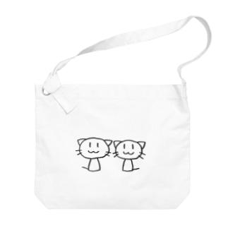 ねこ2ひき Big shoulder bags
