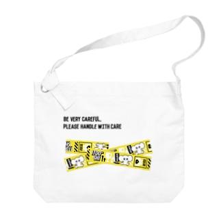 FRAGILE(黄色×黒文字) Big shoulder bags