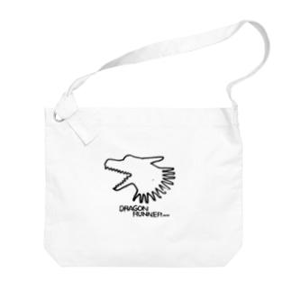 俊足の龍の布かばん・黒 Big shoulder bags