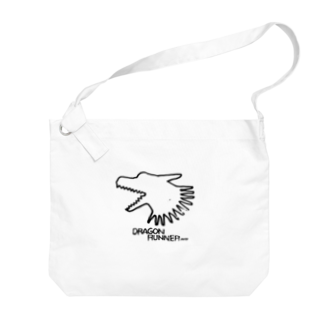 無真獣73号の俊足の龍の布かばん・黒 Big shoulder bags
