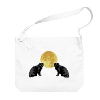 猫と月 Big shoulder bags
