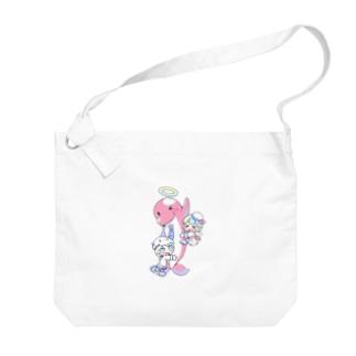 イルカのブッチくん(イラスト:寺田てら) Big shoulder bags