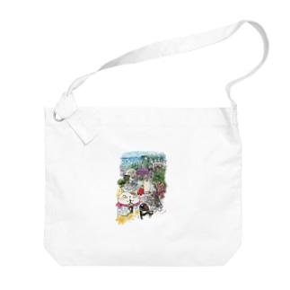猫とペンギンと旅気分 Big shoulder bags