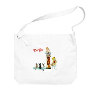 巡業 猫楽団 Big shoulder bags