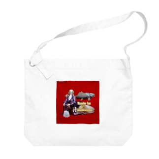 ドール写真:ブロンドの妖狐と甲冑魚 Doll picture: Blonde monsterfox & Dunkleosteus Big shoulder bags