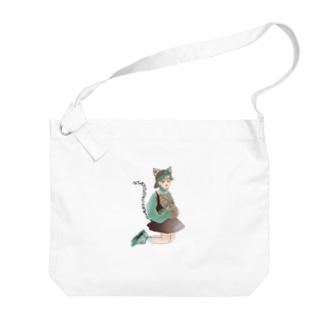Green catgirl Big shoulder bags