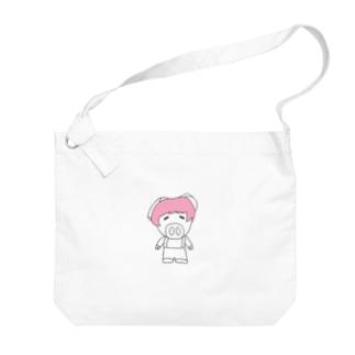 ミニブタの子豚のトン子ちゃん。 Big shoulder bags