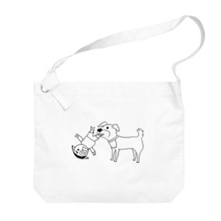 猛犬注意~豚人(ぶたびと)ver~ Big shoulder bags