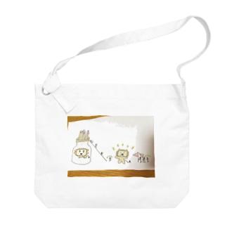 棒人間と動物たち Big shoulder bags