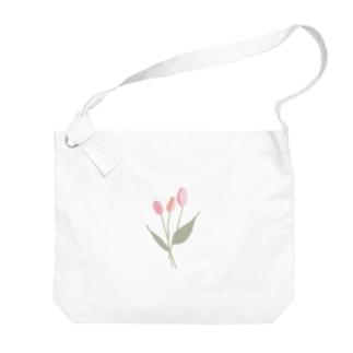 pink tulip Big shoulder bags