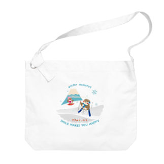 aliveONLINE SUZURI店のHello! すずめだいきち Big shoulder bags
